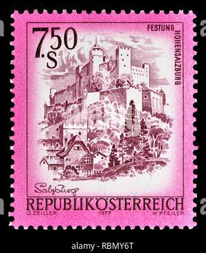 Austrian definitive postage stamp (1977) : Festung Hohensalzburg / Salzburg Castle - Stock Image