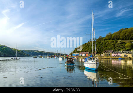 Pembrokeshire coastal fishing village of Abergwaun. Famous as one of the locations for Under Milk Wood it is also known as Lower Town. - Stock Image