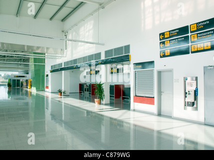 Interior of the check-in area at the new Beja Airport in the Alentejo, southern Portugal - Stock Image