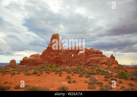 Famous 'windows' in the Arches National park, Utah, USA - Stock Image