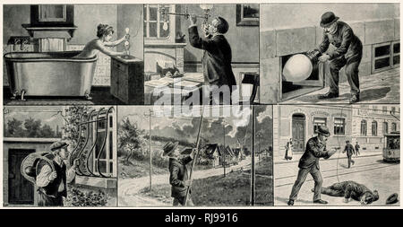 A series of illustrations illustrating the care that should be taken when using electricity during the course of daily life. - Stock Image