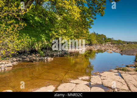 North Pennines landscape, a tranquil scene in spring sunshine on Sleightholme Beck, near Bowes, Teesdale, UK - Stock Image