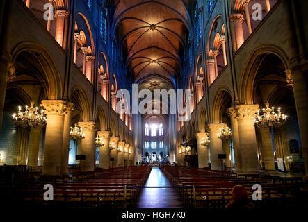 Interior of Notre Dame de Paris, France - Stock Image