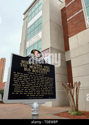 Rosa Parks bus boycott historical marker in front of the Rosa Parks Library and Museum in Montgomery Alabama, USA. - Stock Image