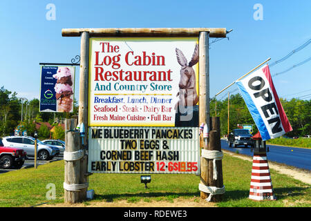 Signs for a roadside restaurant and country store in Bar Harbor, Maine, USA. - Stock Image