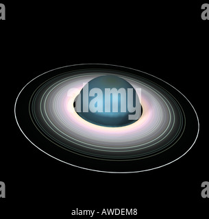 The Uranus is the seventh planet in the solar system and have a ring system - Stock Image