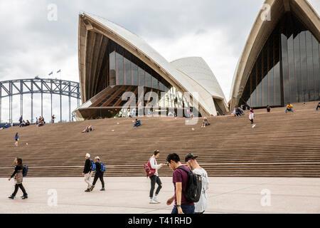 Sydney Opera house forecourt and harbour bridge,Sydney,Australia - Stock Image