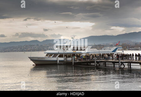 Lake of Zurich, excursion boat of the white fleet - Stock Image