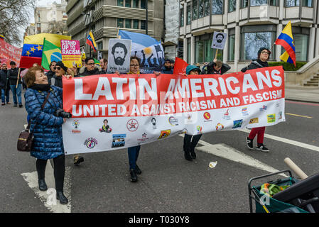 London, UK. 16th March 2019. Latin Americans United Against Raqcism and Fascism. Thousands march through London on UN Anti-Racism day to say 'No to Racism, No to Fascism' and that 'Refugees Are Welcome Here', to show solidarity with the victims of racist attacks including yesterdays Christchurch mosque attack and to oppose Islamophobic hate crimes and racist policies in the UK and elsewhere. The marchers met in Park Lane where there were a number of speeches before marching to a rally in Whitehall. Marches took place in other cities around the world including Glasgow and Cardiff. Peter Marshal - Stock Image