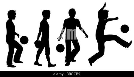 Boys Playing Ball Silhouette Set - Stock Image