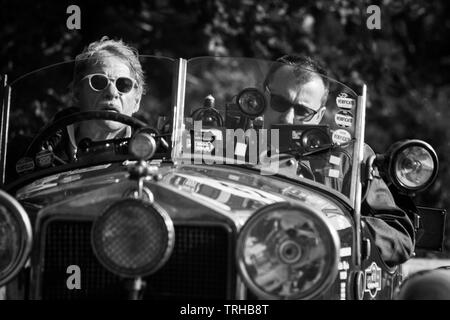 Stock Photo - PESARO COLLE SAN BARTOLO, ITALY - MAY 17 - 2018: ALFA ROMEO 6C 1500 SUPER SPORT 1928 MM on an old racing car in the Mille Miglia rally 2 - Stock Image