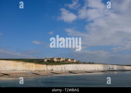 Brighton Marina Views UK - Roedean School on the cliffs as seen from the marina - Stock Image