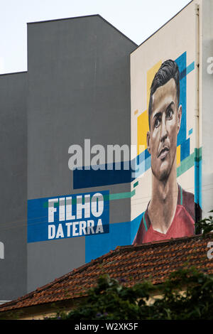 Portugal, Madeira Island, Funchal, Santo Antonio district, Cristiano Ronaldo's mural - Stock Image