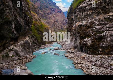 Landscape Fast Mountains River Hiking Himalayas.Beautiful View Waterfalls End Summer Season Background.Green Threes - Stock Image