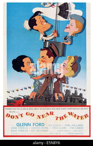 DON'T GO NEAR THE WATER, US poster art, Earl Holliman, Anne Francis, Gia Scala, Glenn Ford, Eva Gabor, 1957 - Stock Image