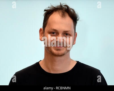 Six finalists, including some foreign names, will compete for the 30th Czech Jindrich Chalupecky Award for young visual artists with the winner to be announced in late November or early December, the organisers said at a press conference today, on Tuesday, January 15, 2019. Among the finalists are Andreas Gajdosik (photo), who uses social networks to create artistic objects, Baptiste Charneux, a Frenchman living in Prague who works with ceramics, filmmaker Marie Lukacova, painter Pavla Malinova, Alma Lily Rayner, Israeli-born activist who focuses on the topic of sexual violence, and the Comuni - Stock Image