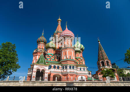Moscow, Russia, May 13 2018 Red Square, Cathedral of Vasily Blessed - Stock Image