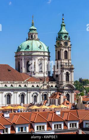St Nicholas Church Prague Lesser Town, Czech Republic - Stock Image