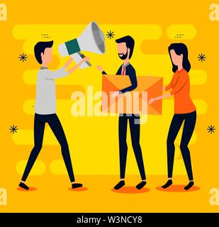 businessmen and businesswoman teamwork with letter and megaphone - Stock Image