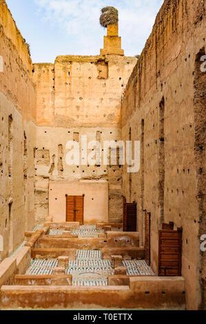 The interior of Badi Palace in the Medina of Marrakech, Morocco - Stock Image