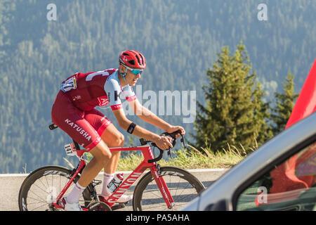 Nils Politt Katusha Alpecin Tour de France 2018 cycling stage 11 La Rosiere Rhone Alpes Savoie France - Stock Image