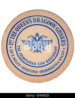Vintage Beermat Advertising The Queens Dragoon Guards - The Armoured Car Regiment - Stock Image