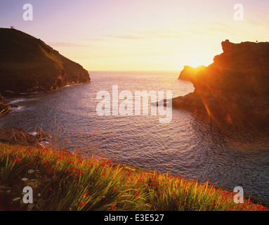 GB: Cornwall: Boscastle: Harbour Mouth at Sunset - Stock Image