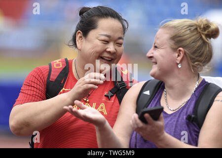 Ostrava, Czech Republic. 20th June, 2019. L-R Wang Zheng (China) and Alexandra Tavernier (France) are seen after compete in hammer throw during the Ostrava Golden Spike, an IAAF World Challenge athletic meeting, in Ostrava, Czech Republic, on June 20, 2019. Credit: Jaroslav Ozana/CTK Photo/Alamy Live News - Stock Image