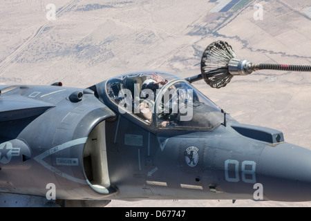 Maj. James Vallario, an AV-8B Harrier pilot with Marine Aircraft Group 13, trains in his aircraft during the spring - Stock Image