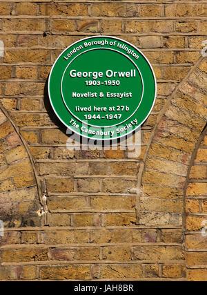 Plaque at George Orwell ex residence Canonbury Square Islington London - Stock Image