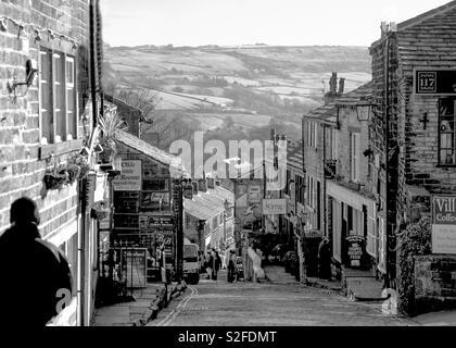 Main Street in Haworth, West Yorkshire, UK - Stock Image