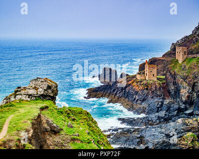 The Crowns Engine Houses, part of the Botallack Mine in Cornwall, England,UK. - Stock Image