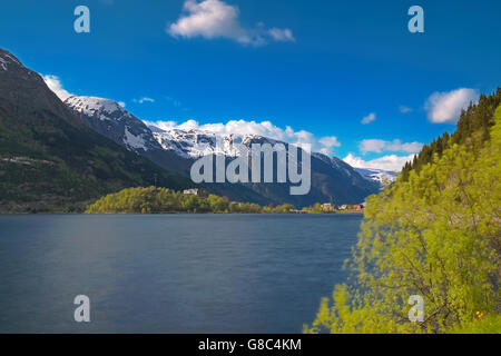 Norwegian fjord and mountains - Stock Image