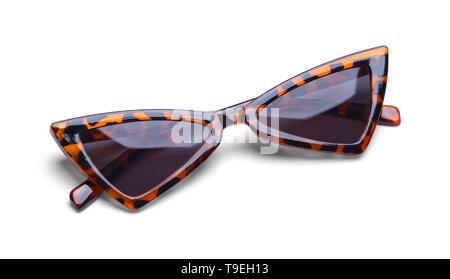 Pointed Sunglasses with Leopard Print Isolated on White. - Stock Image