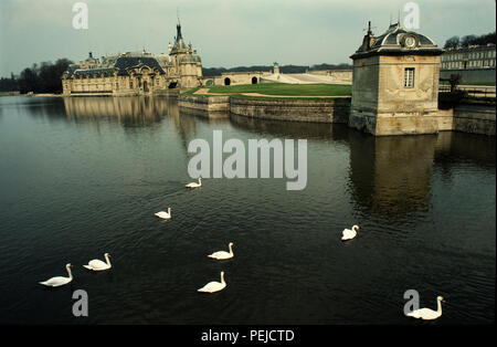 The Château de Chantilly is a historic château located in the town of Chantilly, France, about 50 kilometers (30 miles) north of Paris.  The site comprises two attached buildings: the Petit Château built around 1560 for Anne de Montmorency, and the Grand Château, which was destroyed during the French Revolution and rebuilt in the 1870s.  Owned by the Institut de France, the château houses the Musée Condé. It is one of the finest art galleries in France[citation needed] and is open to the public. - Stock Image
