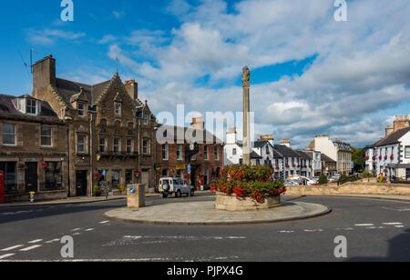 Market square and High Street in Melrose, Scottish Borders, UK - Stock Image