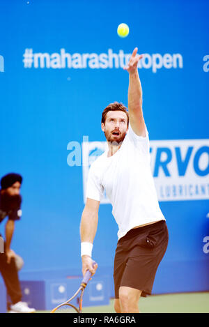 Pune, India. 2nd January 2019. Ernests Gulbis of Latvia in action in the second round of singles competition at Tata Open Maharashtra ATP Tennis tournament in Pune, India. Credit: Karunesh Johri/Alamy Live News - Stock Image