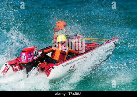 Newquay, Cornwall, UK. 11th May, 2019.  ThunderCat Racing UK has returned to the world famous Fistral Beach in Newquay for Rounds 1&2 of the 2019 ThunderCat Racing Championships.  Spectacular action as the 4m inflatable boats race and power through the surf.  Gordon Scammell/Alamy Live News - Stock Image