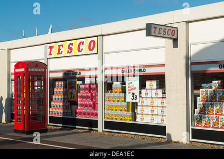 Chichester, West Sussex, UK. 14th Sep, 2013. Goodwood Revival. Goodwood Racing Circuit, West Sussex - Saturday 14th September. A replica vintage Tesco store part of the retail village inside the circuit. Credit:  MeonStock/Alamy Live News - Stock Image