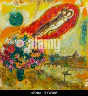 Above Paris, Marc Chagall, 1968, Zurich Kunsthaus, Zurich, Switzerland, Europe - Stock Image
