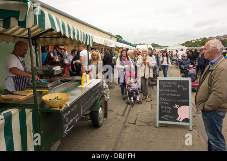 A hot food stall at Pembrokeshire Fish Week in Milford Haven - Stock Image