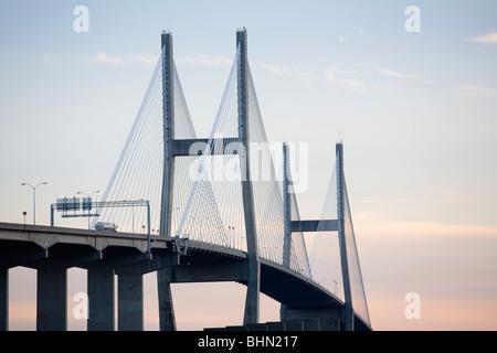 Talmadge Memorial Bridge spans the Savannah River, Savannah, Georgia, USA - Stock Image