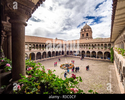 Cusco, Peru - January 3, 2017. View of main square of the Qorikancha temple in downtown Cusco - Stock Image