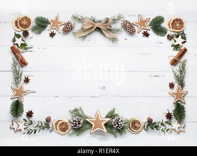 Christmas composition of cookies and baking ingredient - Stock Image