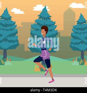 fitness sport train woman running outdoor scene cartoon vector illustration graphic design - Stock Image