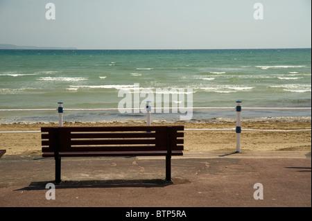 Bench on Weymouth Beach, Dorset, UK. - Stock Image