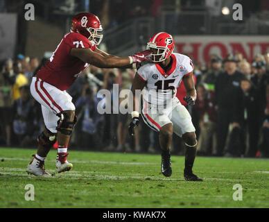 Pasadena, California, USA. 01st Jan, 2018. Georgia Bulldogs linebacker D'Andre Walker #15 battles Oklahoma Sooners - Stock Image