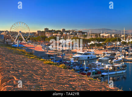 Antibes waterfront and Port Vauban harbor panoramic view, Southern France - Stock Image