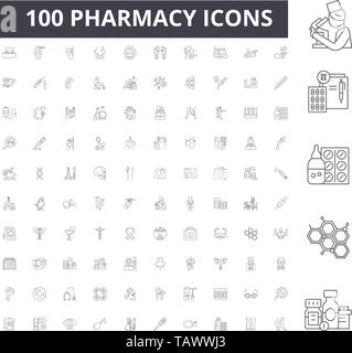 Pharmacy line icons, signs, vector set, outline illustration concept  - Stock Image