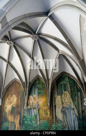 mural outside a church, Zurich, Switzerland - Stock Image